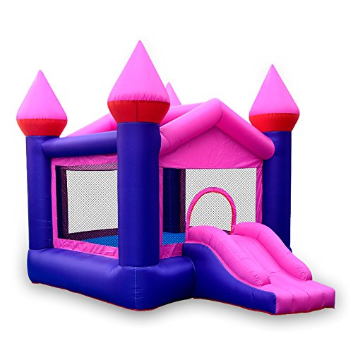 (Doctor Dolphin Inflatable Pink Bounce Castle House Kids Party Bouncy House with Commercial Grade Air Blower Included)