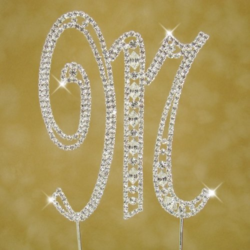 (Swarovski Crystal Monogram Cake Topper Vintage Style - Letter M)