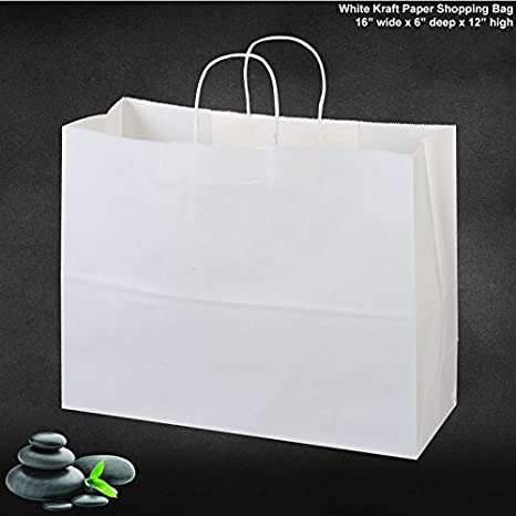 Amazon Com 50 Paper Retail Shopping Bags White With Rope Handles