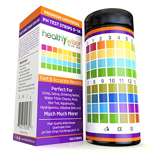 pH Test Strips 0-14, Universal Strips To Test Water Quality For Swimming Pools, Hot Tub, Hydroponics, Aquarium, Kombucha, Household Drinking Water, Soil, Urine & Saliva, Alkaline & Diabetic Diet 100ct by HealthyWiser (Image #2)