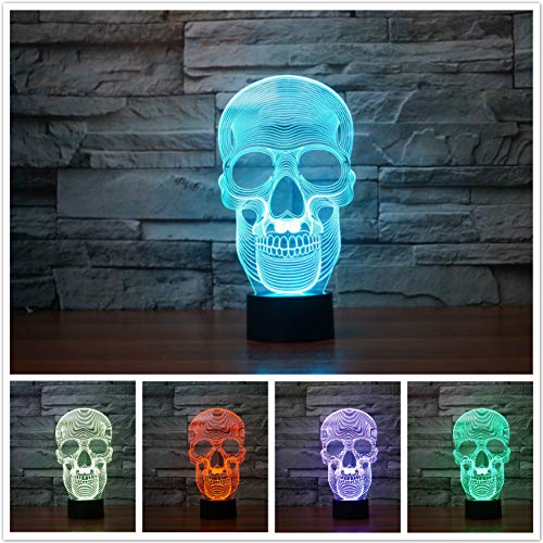 Jinnwell 3D Skull Night Light Lamp Illusion 7 Color Changing Touch Switch Table Desk Decoration Lamps Perfect Christmas Gift with Acrylic Flat ABS Base USB Cable Toy