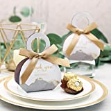 Doris Home 50 pcs Birthday Wedding Party Favor, Wedding Gift Bags Chocolate Candy and Gift Boxes Bridal Shower Party Paper Gift Box Gray Boxes with Ribbons (Gray 2.5x3x1.3 inch)