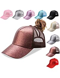 reputable site bda86 0ba0f Ponycap Messy High Bun Ponytail Adjustable Mesh Trucker Baseball Cap Hat  for Women