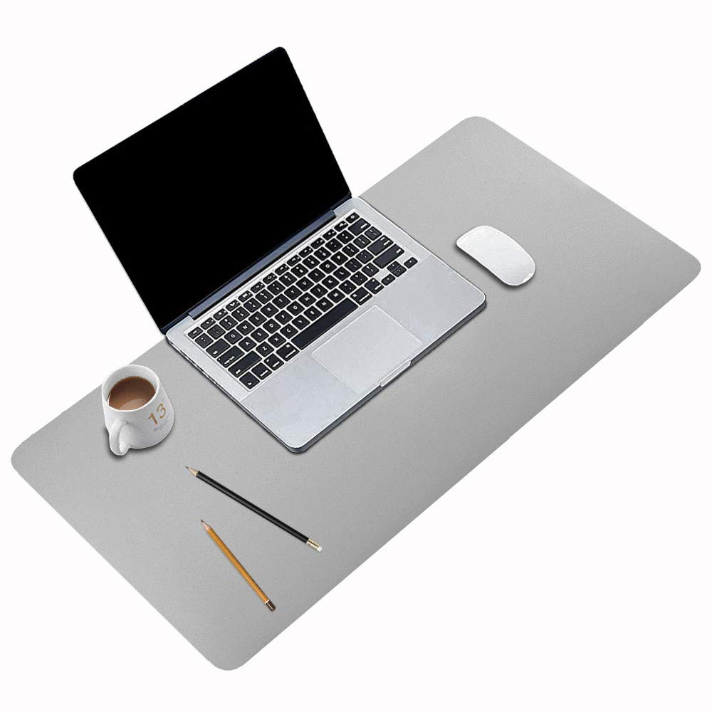 "BUBM Desk Pad Office Desktop Protector 31.5"" x 15.7"", PU Leather Desk Mat Blotters Organizer with Comfortable Writing Surface-Light Grey"