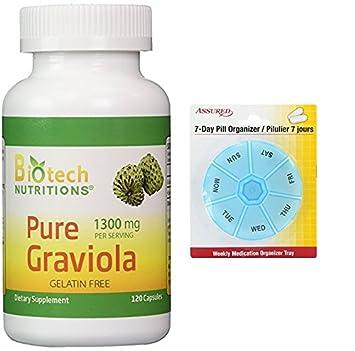 Nutrición biotecnológica Graviola 100% Pure Graviola 1300 por raciones 120 cápsulas con gratis 7 días