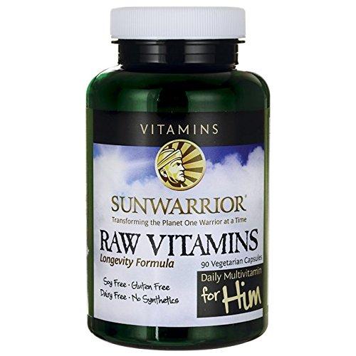 Sunwarrior - Raw Vitamins, Vegan Longevity Formula with Enzymes & Probiotics, Energizing, Plant-Based Vitamins & Minerals, for Him, 90 Capsules