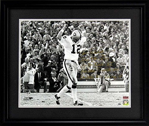 Ken Stabler Autographed/Signed Oakland Raiders Framed 16x20 NFL Photo with Game Stats Inscription - LE