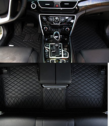 Worth-Mats All Weather Luxury XPE Leather Waterproof Custom Fits Floor Mats for Land Rover Range Rover Velar (Black with Black Stitching)