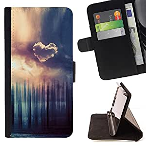 BETTY - FOR HTC One M8 - Heart Cloud Forrest - Style PU Leather Case Wallet Flip Stand Flap Closure Cover