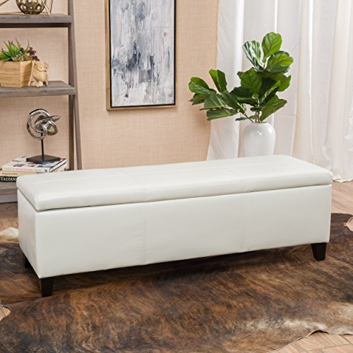 Christopher Knight Home Living Skyler Off-White Leather Storage Ottoman Bench, Ivory (Ottoman White Storage)