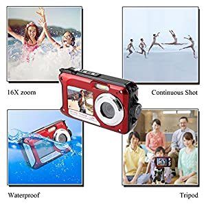 Waterproof Point and Shoot Digital Cameras,24MP 1080P Dual Screen Underwater Sports Action Video Recorder Cameras-Red