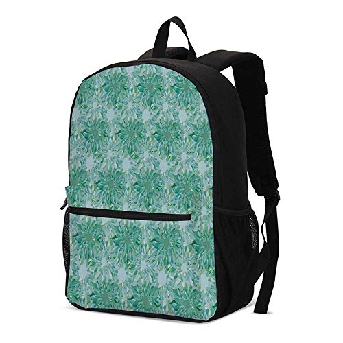Turquoise Decor Fashional Backpack,Floral Pattern With Beryl Crystal Guilloche Flowers Carving Art Decorating Image Print for School Travel,12.2