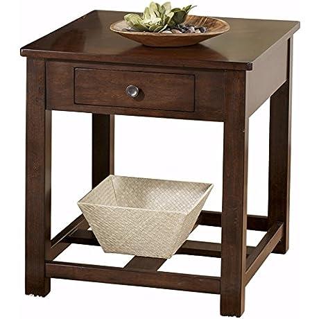 Ashley Furniture Signature Design Marion Rectangular End Table 1 Drawer Contemporary Dark Brown