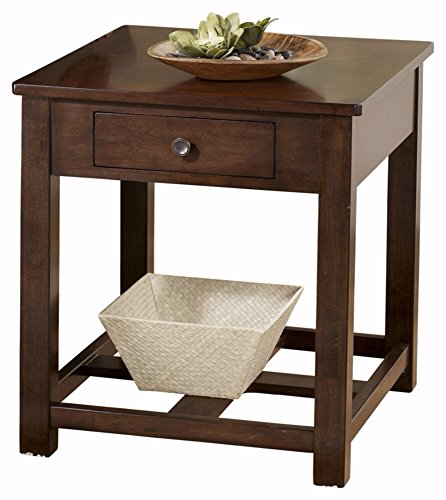 Ashley Furniture Signature Design - Marion Rectangular End Table - 1 Drawer - Contemporary - Dark Brown - Marion Rectangular Cocktail Table
