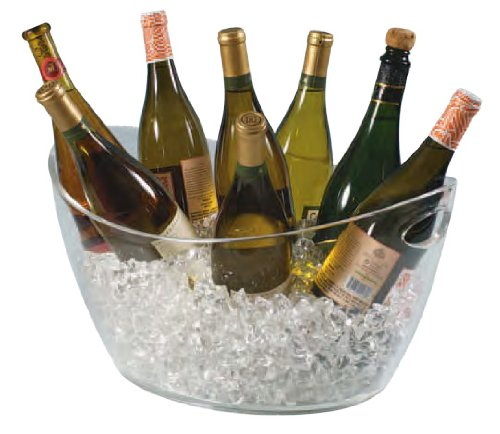 Clear Acrylic Colossus 8-Bottle Oval Bucket with Cut Out Handle by Franmara (Image #1)