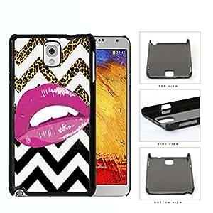 Pink Lips On Leopard Gradient Chevron Hard Plastic Snap On Cell Phone Case Samsung Galaxy Note 3 III N9000 N9002 N9005