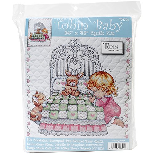 - Tobin Bedtime Prayer Girl Quilt Stamped Cross Stitch Kit, 36 by 43-Inch