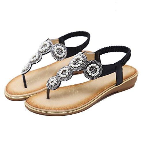Sólido Puntera Mujeres AgooLar de Vestir GMXLA008503 Tacón Mini Sandalias Dividida Negro aUwPw4