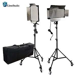 LimoStudio 2 Pcs Dimmable 500 LED Photo Video light Panel LED lighting Kit with 6pcs Caster Wheels