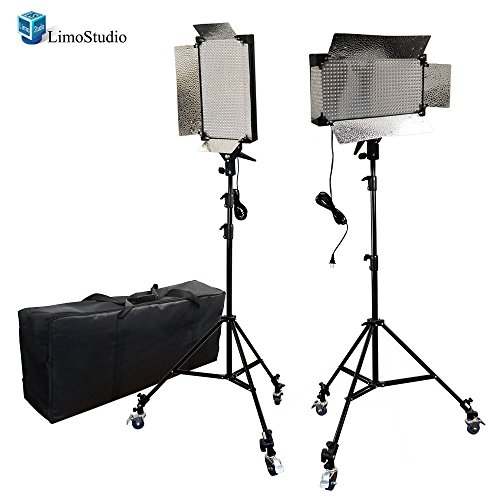 LimoStudio 2 Pcs Dimmable 500 LED Photography Photo Video Light Panel LED Lighting Kit with 6pcs Caster Wheels for Photo Video Studio, AGG1089 by LimoStudio