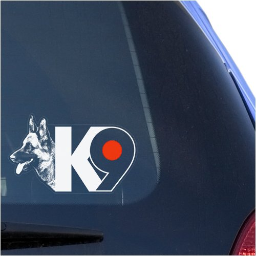 K9 German Shepherd Clear Vinyl Decal Sticker for Window, Police Dog Warning Guard Sign Art Print