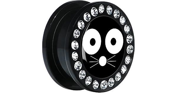 Acrílico Negro Monocromo Cara Gato Dilatador Ajuste Rosca Par 20mm: Amazon.es: Joyería