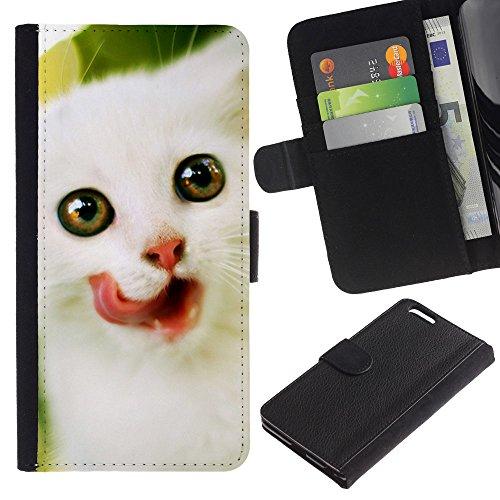 OMEGA Case / Apple Iphone 6 PLUS 5.5 / Angora Van Norwegian kitten white / Cuero PU Delgado caso Billetera cubierta Shell Armor Funda Case Cover Wallet Credit Card