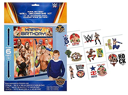 WWE World Wrestling Entertainment Giant Scene Setter Photo Booth Backdrop Decorating Kit! Plus WWE Kids Tattoos! by MGA