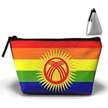 RobotDayUpUP Rainbow Gay Kyrgyzstan Flag Womens Travel Cosmetic Bag Portable Toiletry Brush Storage Print Pen Pencil Bags Accessories Sewing Kit Pouch Makeup Carry Case