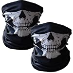 VIPITH 1 Pair of Skeleton Gloves and 2-Pack Skull Face Masks, Seamless Multi Function Warmer Black for Outdoor and Halloween Party Costume.