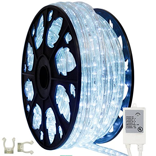 145ft Outdoor Rated Chasing LED Rope Light Kit - 120V (Cool White) by AQL