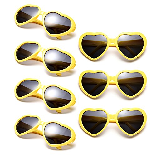 Neon Colors Party Favor Supplies Wholesale Heart Sunglasses (7 Pack Yellow) ()