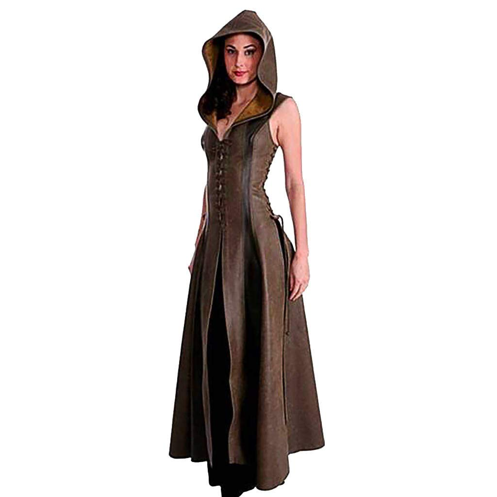 Women PU Leather Maxi Dresses Medieval Clothes Vintage Lace-up Sleeveless Hooded Cosplay Costume Steampunk Long Robe (M, Brown)