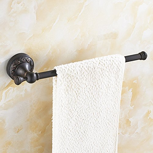 AUSWIND Antique Black Bronze Oil Towel Rings Wall Mounted 11.8'' Brass Carved