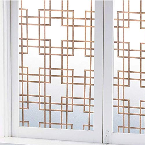 LOVEGLASS Chinese Style Window Film,Lattice Opaque Decorative Anti-uv Sun Protection Heat Control Privacy Glass Sticker for Home-a 30x100cm(12x39inch)