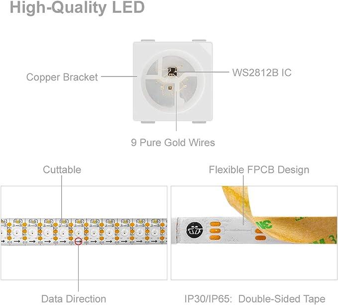 Btf Lighting 1m 144 Leds Pixels M Ws2812b Rgb Adressierbare Strip Streifen Mit 5050 Smd Leds Wasserdicht Ip65 Beleuchtung