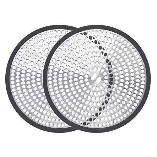 Shiwely Shower Drain Hair Catcher Trap Mesh Good Grips Easy Clean Drain Protector - Stainless Steel & Silicone (Black (1 pair))