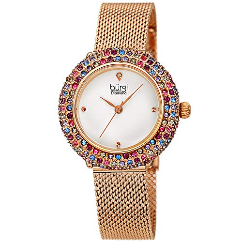 Burgi Swarovski Colored Crystal Women's Watch - A Genuine Diamond Marker - Stainless Steel Mesh Bracelet Wristwatch (Rose Gold and Pink Crystals)