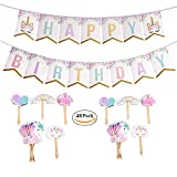 Oexper Unicorn Happy Birthday Sparkle Bunting Banners and 48 Pieces Unicorn Cupcake Toppers Rainbow Heart Crown Cake Decorations for Fantasy Fairy Girls Birthday Party Supplies Party Favors