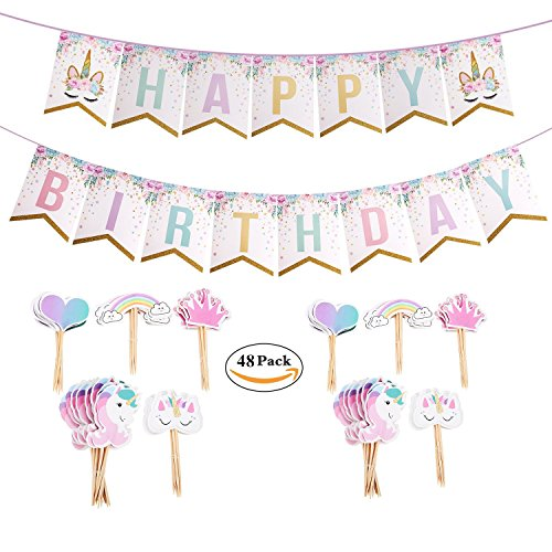 Oexper Unicorn Happy Birthday Sparkle Bunting Banners and 48 Pieces Unicorn Cupcake Toppers Rainbow Heart Crown Cake Decorations for Fantasy Fairy Girls Birthday Party Supplies Party Favors by Oexper