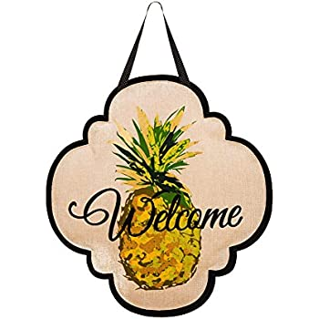 Evergreen Welcome Pineapple Burlap Door Decor