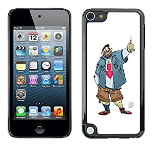 Planetar® ( Dude Guy Man Criminal Smile Caricature ) Apple iPod Touch 5 Fundas Cover Cubre Hard Case Cover
