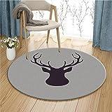 gray hardwood floors Modern Deer Round Area Rug Fashion Cartoon Soft Cute Bedroom Carpet Bedside Rugs Home Decor Hardwood Floor Carpet (Gray)