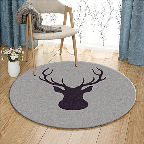 Modern Deer Round Area Rug Fashion Cartoon Soft Cute Bedroom Carpet Bedside Rugs Home Decor Hardwood Floor Carpet (Gray)