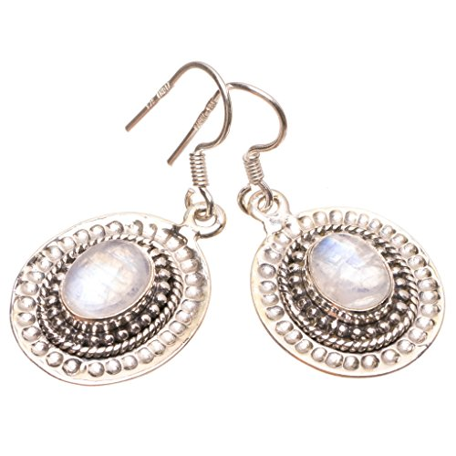 StarGems(tm) Natural Rainbow Moonstone Handmade Mexican 925 Sterling Silver Earrings 1 1/2