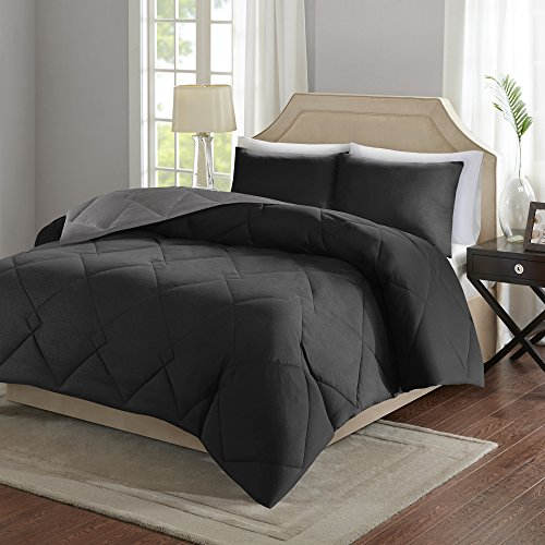 Comfort Spaces  Vixie Reversible Down Alternative Comforter Mini Set - 3 Piece  Black and Grey  Stitched Geometrical Diamond Pattern  Full/Queen size, includes 1 Comforter, 2 Shams