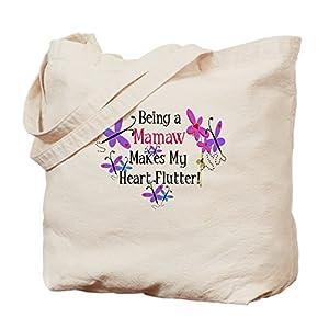 CafePress Mamaw Heart Flutter Natural Canvas Tote Bag, Reusable Shopping Bag