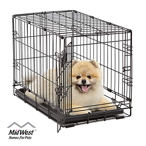 Dog Crate | MidWest iCrate XS Folding Metal Dog Crate w/ Divider Panel, Floor Protecting Feet & Leak-Proof Dog Tray | 22L x 13W x 16H inches, XS Dog Breed, Black from MidWest Homes for Pets