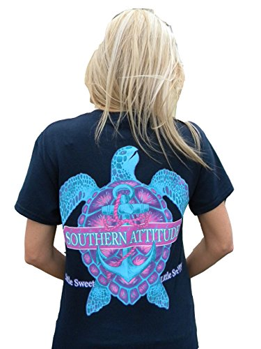 Southern Attitude Snappy Sea Turtle Navy Blue Women's T-Shirt (Small) (Boys Tshirts Southern)