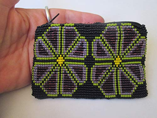 black green purple hand beaded glass seed beads. Fair trade Guatemalan handmade. American Flower design. Meixco Mexican huichol style pattern. zippered coin purse credit card holder pouch bag